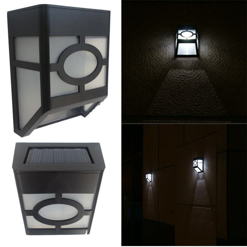 solar powered wall mount 2 led light outdoor fence post landscape garden lamp ebay. Black Bedroom Furniture Sets. Home Design Ideas