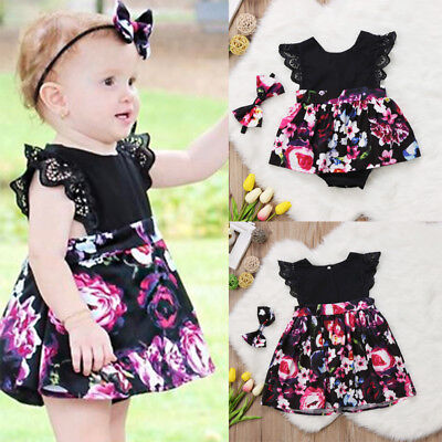 US Christmas Baby Girl Toddler Kids Lace Romper Dress Party Dresses Costumes Set