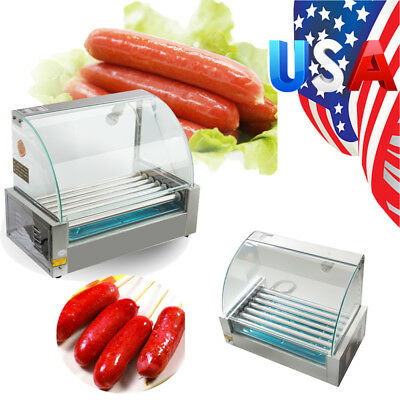 Us Roller Commercial 18 Hotdog Hot Dog 7 Roller Grill Cooker Machine Wcover New