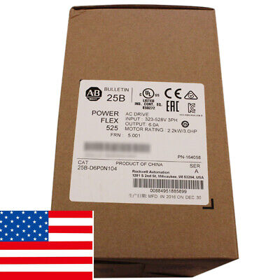 2019 Usa Allen Bradley 25b-d6p0n104 Powerflex 525 2.2kw 3hp Ac Drive