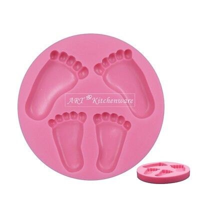 BABY FEET shower Christening 3D Silicone Mould Fondant Cake Decorating Topper