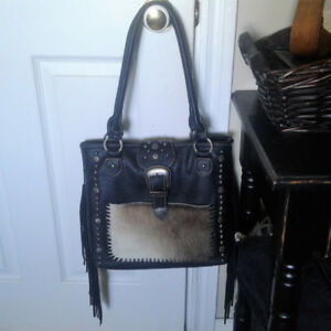Black Western Purse with Real Hair On Cowhide