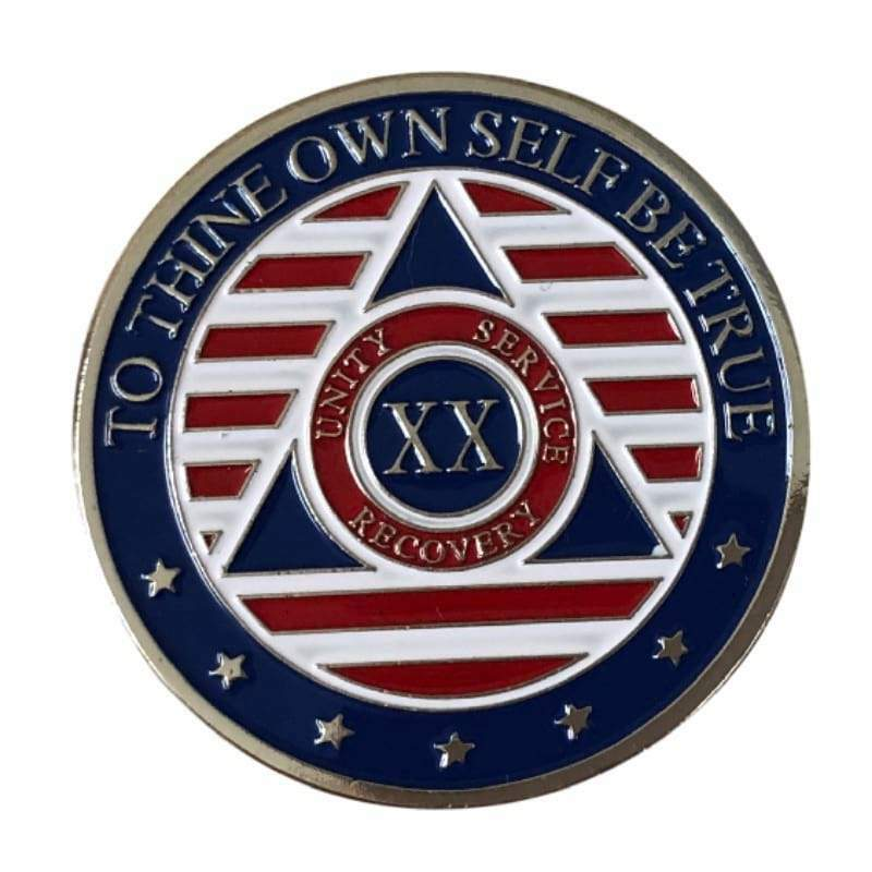 20 Year Patriotic Stars and Stripes AA/NA Recovery Medallion - Red/White/Blue