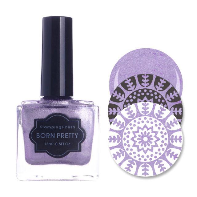 15ml Born Pretty Nail Art Stamping Polish Pearl Purple Stamp Design ...