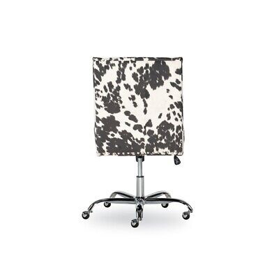 Linon Draper Wood Upholstered Office Chair In Black Cow Print