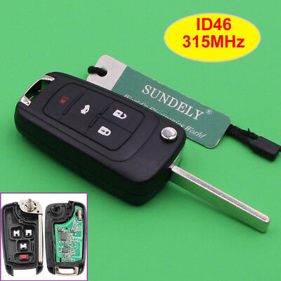 315Mhz Keyless Entry Remote Key Fob 4 Button OHT01060512 for Chevrolet 2010-2017