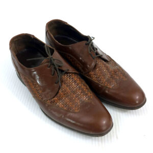 Florsheim Oxfords Shoes Brown Leather Woven Weave Wing tips
