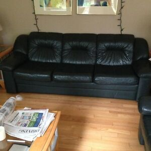 Beautiful green leather Natuzzi couch and love seat