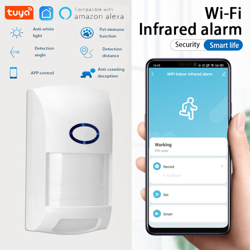 Tuya Smart WiFi Infrared Detector PIR Motion Sensor Home Security Google Alexa