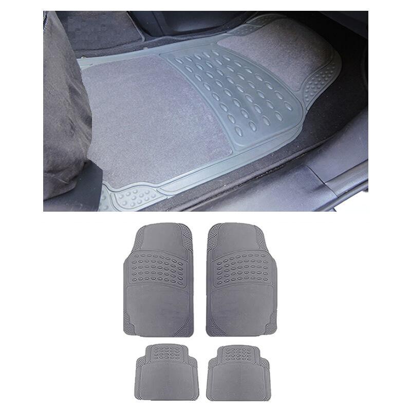 Sedan Gray Grey Front and Rear AW Semi-Carpet Rubber Floor Mats Set 4 pc XLG