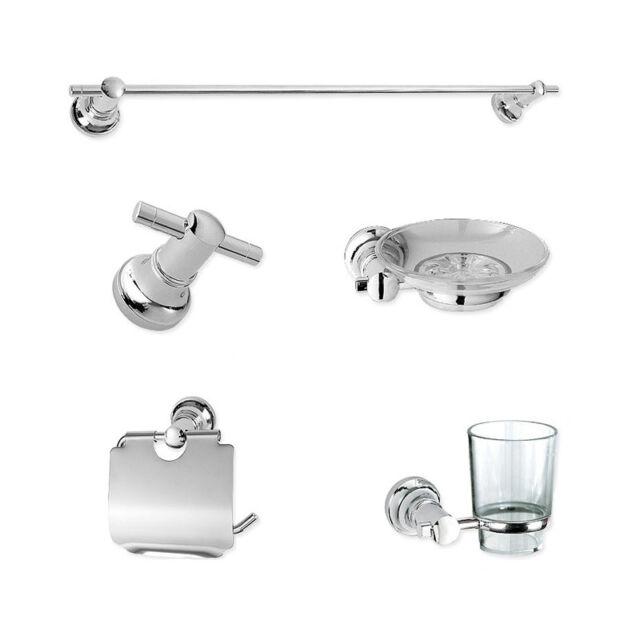 Bathroom Accessories Set Towel Rack Robe Hook Soap Dish Paper Holder Tumbler