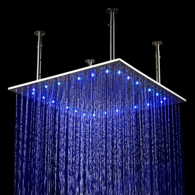 24x24 inch led stainless steel ceiling waterfall rain shower head brushed nickel - Ceiling Shower Head
