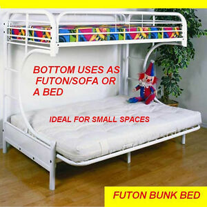 strong metal bunk bed twin with futon bottom or use as a bed   bunk bed futon bottom   kijiji in ontario    buy sell  u0026 save with      rh   kijiji ca