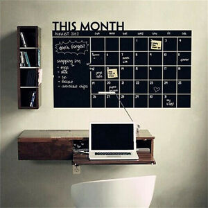 Monthly Chalkboard Chalk Blackboard Wall Sticker Decor Month Plan Calendar  OY