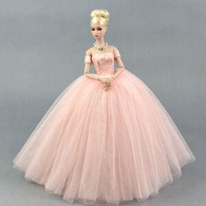 Pink Wedding Dress for Barbie Doll Princess Long Dresses Doll Clothes for Barbie & Barbie Princess Dress | eBay