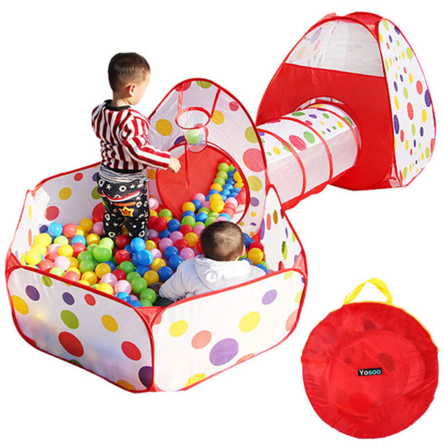 Portable Kids Indoor Outdoor Play Tent Crawl Tunnel Set 3 in 1 Ball Pit Tent US  sc 1 st  eBay & Play Tent | eBay