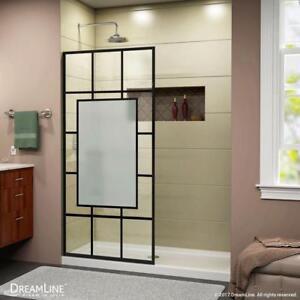 Frameless Shower Screen (Door) Open Entry Design. Satin Black Finish 34 in. & Screen Door | Great Deals on Home Renovation Materials in Edmonton ...
