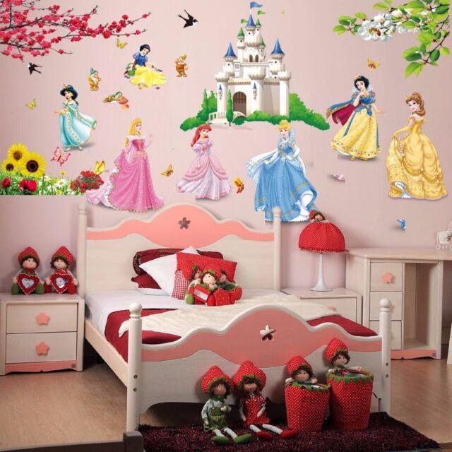 Beautiful Cartoon Princess Castle Flower Mural Wall Decal Sticker For Kids Girl Room  Decor Design Inspirations
