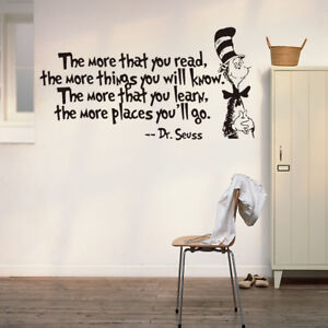 Wall Decal The More That You Read The More Things You Will Know Dr Seuss Vinyl & Dr Seuss Wall Decal | eBay