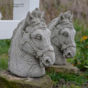 HORSE HEAD PAIR Stone Pillar Caps Gate Posts Garden Ornament Statue  ⧫onefold Uk