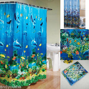 Good Tropical Beach Dolphin Sea Fish Shower Curtain Blue Ocean Theme + Hooks  Ring US