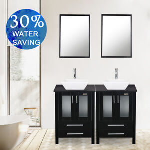 Black 48 Inch Double Sink Bathroom Vanity W/Mirror White Ceramic Top Cabinet