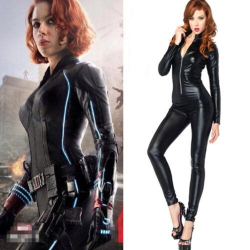 Superhero The Avengers Black Widow Black Leather Jumpsuits Costume Halloween  sc 1 st  eBay & Superhero The Avengers Black Widow Black Leather Jumpsuits Costume ...