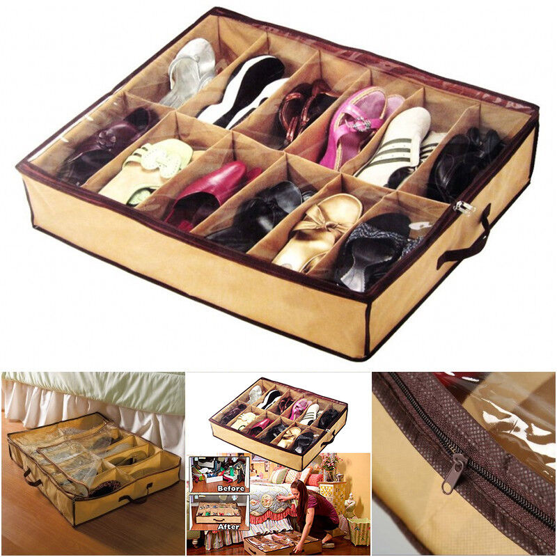 Under Bed Shoes Storage Space Saving Shoe Organizer Holder Container Bag 12  Pair