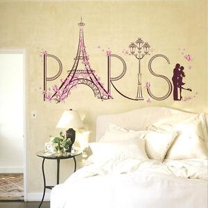 Paris Eiffel Tower Romantic Wall Stickers Vinyl Decal Mural Home Room Decor US & Paris Wall Decal | eBay