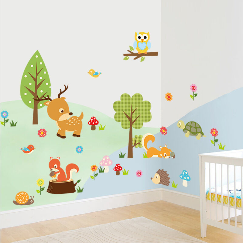 Premium Wandtattoo Zoo Wandsticker Dekorativ Kinderzimmer Süße Baby Tiere
