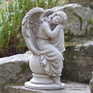 SLEEPING ANGEL Hand Cast Stone Garden Ornament Statue Grave Memorial  ⧫onefold Uk