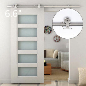 Attractive 6.6FT Modern Sliding Door Hardware Kit Stainless Steel Wood Barn Door Track  Set@