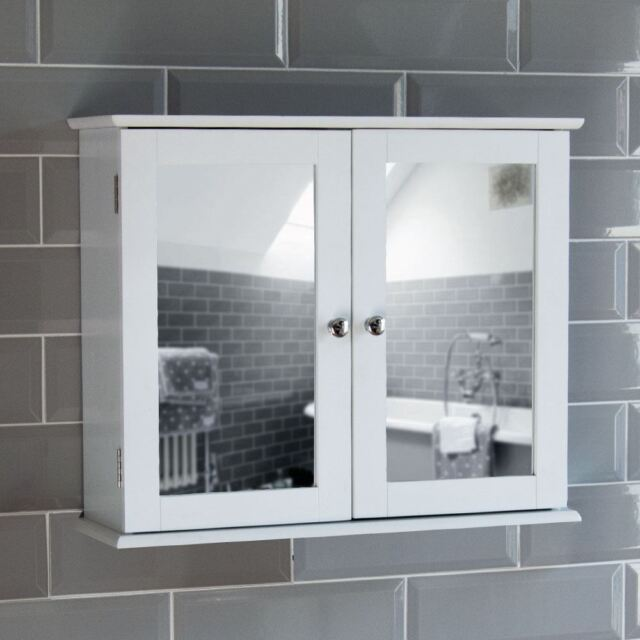 Superb Milano Bathroom Mirror Wall Cabinet Double Doors Mirrored Cupboard Wooden  White