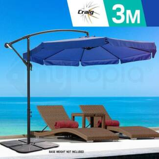 3m Outdoor Umbrella CRAIG Navy Blue Patio Cantilever Garden Deck