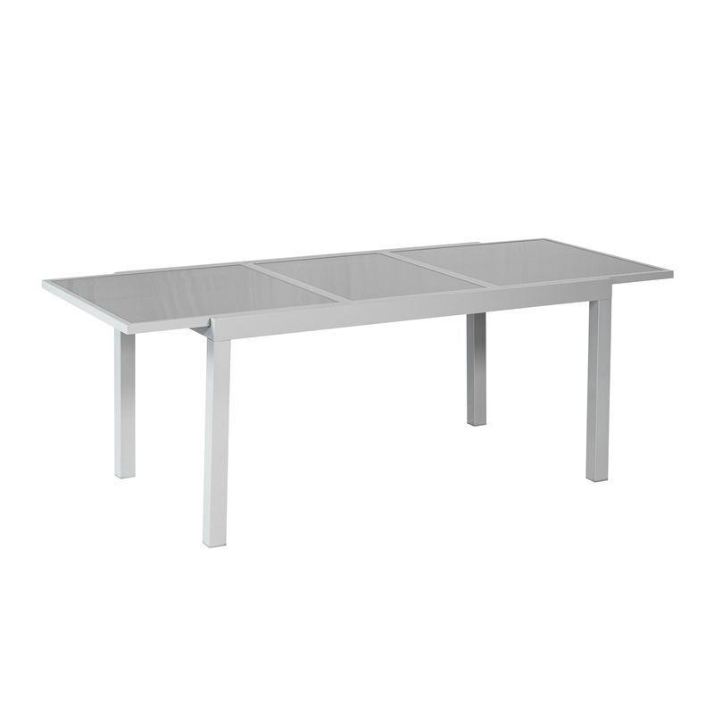 Ausziehtisch Aluminium Silber Grau Gartentisch Ausziehbar 120 180cm  Glastisch