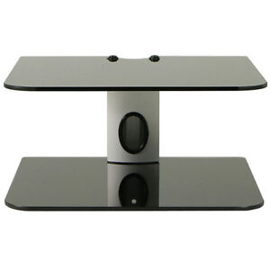 dual 2 tier glass shelf wall mount bracket under tv component cable box dvr dvd