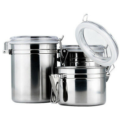 Stainless Steel Sealed Canister Jar Coffee Sugar Tea Storage Bottle Container  sc 1 st  eBay & Stainless Steel Sealed Canister Jar Coffee Sugar Tea Storage Bottle ...