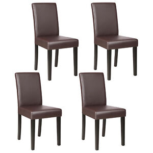 Set Of 4 Dining Chair Kitchen Dinette Room Brown Leather Backrest Elegant  Design