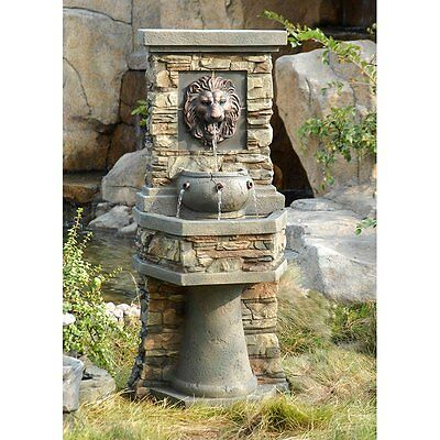 Lionu0027s Head Indoor Outdoor Resin Patio Water Fountain Home Living Garden  Decor