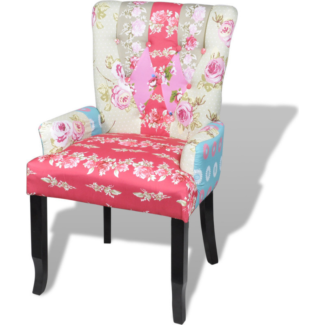 Fabric Upholstered Occasional Armchair In Patchwork NEW