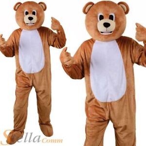 Adult Teddy Bear Mascot Costume Unisex Jungle Animal Big Head Fancy Dress Outfit & Teddy Bear Costume | eBay