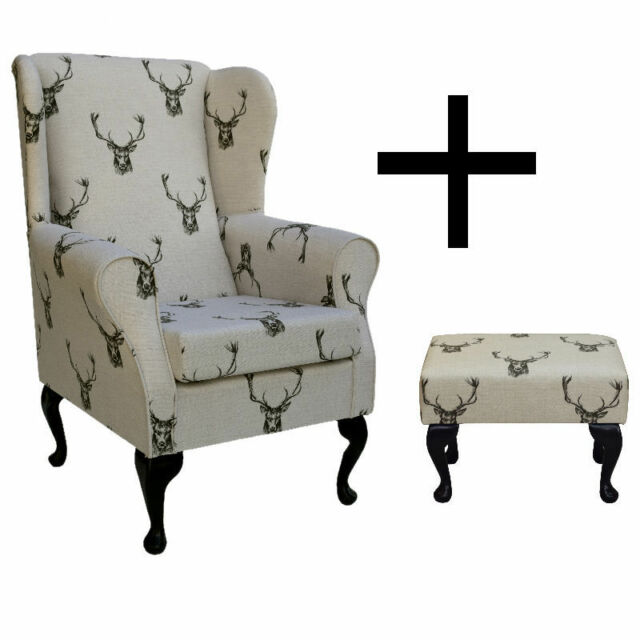 Delightful Designer Wingback Fireside Chair In A Stag Print Design + Matching Footstool