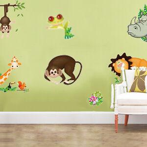 Animal Wall Stickers Monkey Tree Jungle Zoo Nursery Baby Kids Room Decal Art Part 43