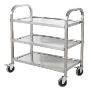 3 Tire Stainless Steel Kitchen Restaurant Utility Cart Rolling Serving  Transport