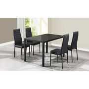 NEW Dining Table Set Glass Top 4 PU Leather Chairs   Black