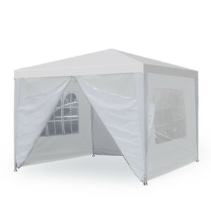 segawe 10 x 10 white wedding party tent gazebo canopy with 4 removable sidewalls - 10x10 Tent