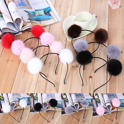 Girl Baby Pom Fur Ball Headband Kid Furry Ears Hairband Hair Accessories US