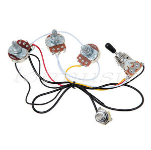 guitar wiring harness with 2 volume 1 tone pots 500k 3 way. Black Bedroom Furniture Sets. Home Design Ideas