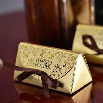 50PCS Gold Wedding Party Favors Boxes Candy/Chocolates Bags Guest' Gifts Ribbons (Wedding Guest Gift)