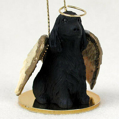 English Cocker Spaniel Ornament Angel Figurine Hand Painted Black